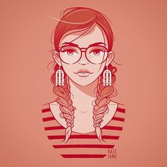 #illustration #woman #girl #face #vector #adobeillustrator #glasses #glassesgirl #beauty #strong #freckles #lips #outlines #redhead #bestvector #visforvector #characters #lashes #braids #hairporn #red