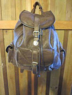 181fd059f5 Vintage Brown Large Leather Backpack - Distressed Leather Rugged Backpack  Rustic Rucksack
