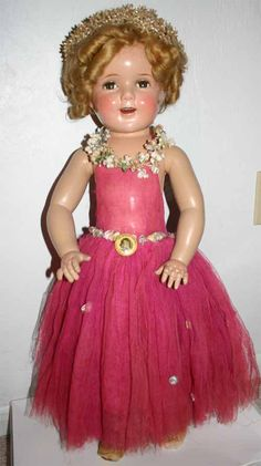 "27"" compo Shirley Temple doll from 1939. the dress is the dancing dress from the Little Princess dream sequence Z"