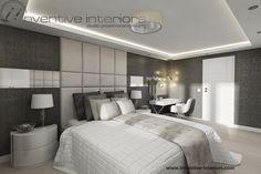 Projekt sypialni Inventive Interiors - luksusowa sypialnia w odcieniach bieli beżu, taupe z tapicerowaniem na ścianie
