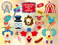 Instant Download Circus Clown Photo Booth Props, Photobooth Props, Printable Circus Party, Carnival Party, Clown Party, Birthday Party 0373