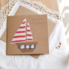 Nautical Fabric Boat Birthday Card Invitation by Foundintheloft