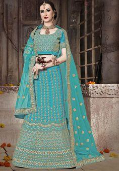 Firozi Blue Banarasi Silk Lehenga Choli