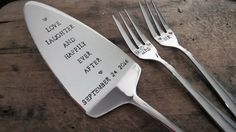 Hand stamped and personalised cake server/slice and 2 forks