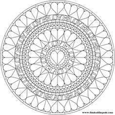 Hearts Mandala to Color