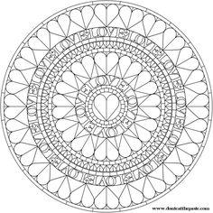 Hearts Mandala to Color