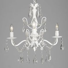 Wrought-Iron-and-Crystal-4-Light-White-Chandelier-H14-X-W15-Pendant-Lighting