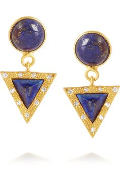 KeviaGold-tone stone and crystal earrings