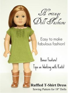 "RUFFLEDT-SHIRT DRESS 18"" DOLL CLOTHES"