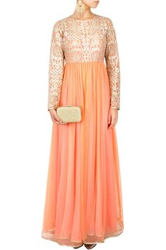 Peach embroidered floor length anarkali BY SVA. Shop now at: http://www.perniaspopupshop.com/ #perniapopupshop #floorlength #anarkali #peach #label #love #designer #SVA #beautiful #attractive #alluring #suave #fashion #finesse #aesthetic #artistic