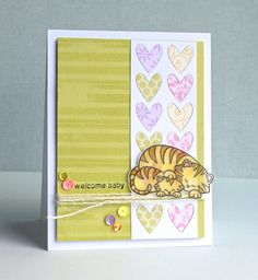 Peaceful Lane: Welcome Baby Card Inky Paws Challenge at Newton's Nook Designs | Wild Child Stamp Set