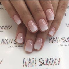 Enter gorgeous bridal nail arts that can be customised to match your ensemble; think stunning gold-traced tips, miniature floral designs, stylish glitter nails or even OTT embellished nails that are… Cute Nails, Pretty Nails, My Nails, Pink White Nails, Nails Today, Pink Ombre Nails, Classy Nails, Gorgeous Nails, Neutral Nail Art