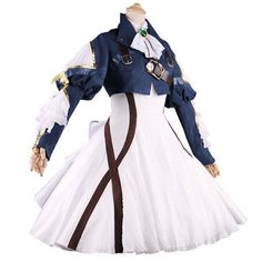 Anime-Violet-Evergarden-Cosplay-Costume-Blue-Jacket-White-Dress-Free-Shipping