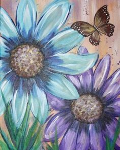 Daisy flowers and butterfly painting. Whimsy Paint and Sip #sunflowercanvaspainting #canvaspainting