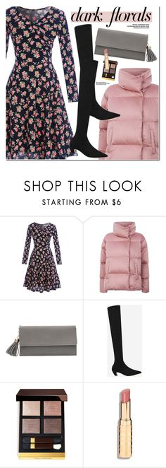 """""""Winter Prints: Dark Florals"""" by oshint ❤ liked on Polyvore featuring Weekend Max Mara, Tom Ford, Boots, fabulous, darkflorals, puffercoats and gamiss"""