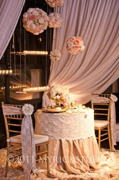 .Lace wrapped table cloths (for starters)