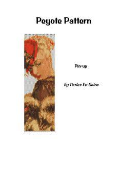 Peyote pattern Victorian 50's Pinup cuff bracelet by PerlesEnSeine
