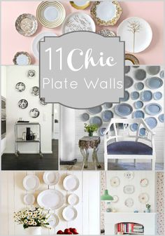11 Chic Plate Walls. There will be a plate wall in my home. And it will be on the far wall of the dining room that has a plate rail holding more plates. Thematic overkill?
