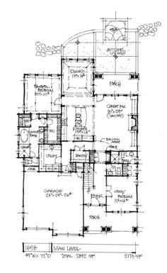 House Plan on the Drawing Board 1458 is a two-story modest design with luxury amenities! Check out the first floor plan of house plan 1458. #WeDesignDreams