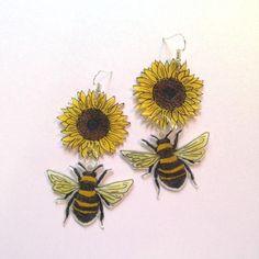 Shrink plastic bee earrings