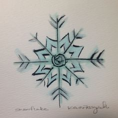 Snow flake, watercolor and ink. #craftypineapple