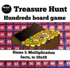 Treasure Hunt - Number knowledge and multiplication facts game Multiplication Facts Games, Math Place Value, Addition Games, Tens And Ones, Math 2, Math Concepts, Numeracy, Elementary Math, Student Learning