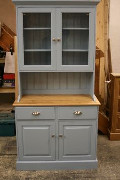 Handmade solid pine Dresser painted in Farrow and Ball with glazed top doors.