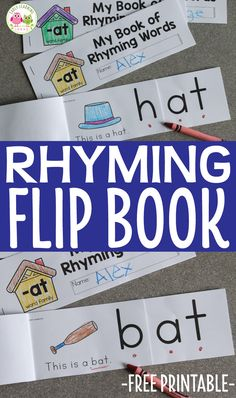 This printable rhyming book will help kids understand the concept of rhyme. Kids see that the end of each word remains the same as they flip the pages. Perfect for your ELA centers, literacy centers and literacy work stations in preschool, pre-k and kindergarten. Teach rhyming, CVC words, CVC word family activities. Rhyming Kindergarten, Kindergarten Freebies, Preschool Classroom, Kindergarten Literacy Centers, Writing Center Preschool, Early Literacy, Classroom Ideas, Word Family Activities, Small Group Activities