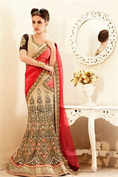 Designer Off White,Tomato Net Lehenga Saree