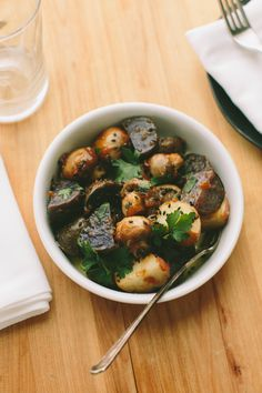 Miso-Roasted Potatoes and Mushrooms // A Thought For Food