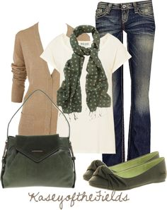 """""""Green and Tan"""" by kaseyofthefields on Polyvore"""