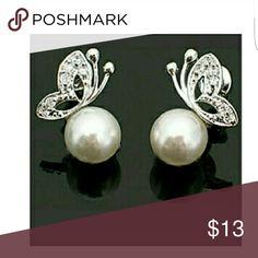 Earrings Pearl CZ butterfly studs earrings boutique  Jewelry Earrings