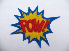 Items similar to POW Pop Art Fridge Magnet Retro Mod on Etsy Crafts To Do, Arts And Crafts, Batman Painting, Felt Decorations, Felt Fabric, Felt Hearts, Felt Diy, Softies, Diy Art