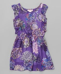 This Purple Floral Chiffon Dress - Toddler & Girls is perfect! #zulilyfinds
