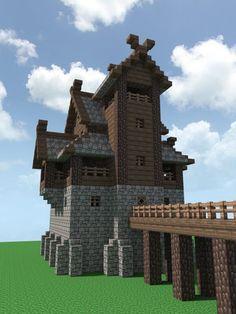 A Nordic fort - Minecraft Minecraft Fort, Casa Medieval Minecraft, Construction Minecraft, Minecraft Building Guide, Minecraft Structures, Minecraft Plans, Minecraft Houses Blueprints, Minecraft House Designs, Minecraft Tutorial