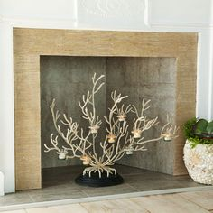 Coral votive tree for the unused fireplace. Perfect!