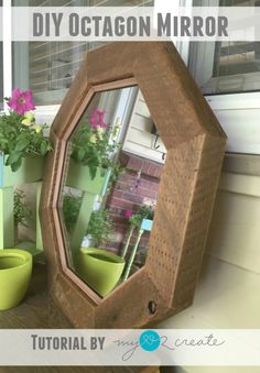 How to make a rustic Octagon Mirror, tutorial at MyLove2Create | #InspirationSpotlight
