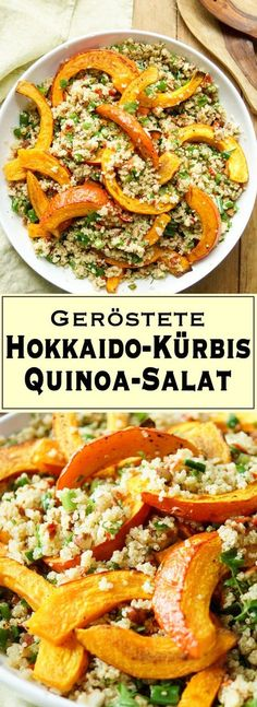 Gerösteter Hokkaido-Kürbis auf Quinoa-Salat mit Mandeln A simple recipe for pumpkin and quinoa salad with almonds full of warm and rich flavors. The recipe is designed for 6 servings. Quinoa Salad Recipes, Veggie Recipes, Vegetarian Recipes, Easy Healthy Recipes, Easy Meals, Lactation Recipes, Cauliflower Recipes, Pumpkin Recipes, Food Inspiration