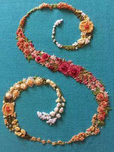 Embroidery Alphabet, Embroidery Monogram, Ribbon Embroidery, Floral Embroidery Patterns, Hand Embroidery Designs, Embroidery Kits, Creative Embroidery, Brazilian Embroidery, Filet Crochet