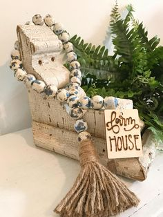 Items similar to Wood bead garland - bead garland - wood beads - farmhouse style - farmhouse decor - boho decor - boho beads on Etsy Diy Arts And Crafts, Bead Crafts, Decor Crafts, Crafts To Make, Creative Crafts, Wood Bead Garland, Beaded Garland, Beaded Chandelier, Passementerie