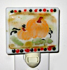 Fused Glass Night Light  Fall Pumpkins by Chris1 on Etsy, $22.00