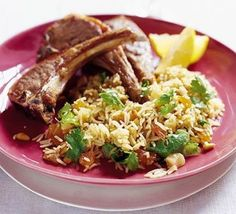 Photo: Lamb Steaks with Moroccan Spiced Rice Recipe The kitchen (The Home of Delicious Arabic Food Recipes) invites you to try Lamb Steaks with Moroccan Spiced Rice Recipe. Enjoy the good taste of Arabic Food . Mint Recipes, Lamb Recipes, Apricot Recipes, Gf Recipes, Chicken Couscous, Spiced Rice, Moroccan Spices, Lamb Dishes, Morocco