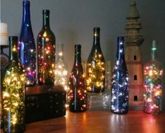 Upcycle those old wine bottles into these gorgeous String Light Bottles! Be sure to view the Decanter Lights, Hurricane Candle Bottles and the Plastic Cup Sparkle Balls as well!