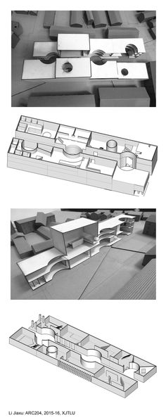 ARC204 (2015-16): Creative Hub. / Co-working Space in Suzhou - Interim Review - Li Jiaxu - 3D and study models