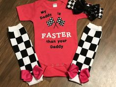"""Hot pink bodysuit or shirt with black and white glitter vinyl """"My Daddy is faster than your Daddy"""" Checker flag leg warmers and big sequin bow headband are available Race Day Outfits, Baby Boy Outfits, Kids Outfits, Kids Clothes Sale, Trendy Baby Clothes, Racing Baby, Baby Tattoos, Vinyl Shirts, Baby Shirts"""