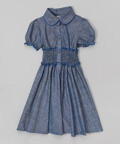 Navy Smock Waist Short-Sleeve Shirt Dress with Peter Pan Collar