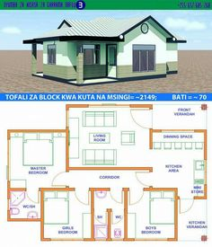House Design with Full Plan 3 Bedrooms - Samphoas. Little House Plans, Free House Plans, House Layout Plans, Family House Plans, Small House Plans, Bungalow Haus Design, Modern Bungalow House, House Design, Tiny House