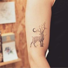 30 Tree-Themed Deer Tattoo Design For Love of Nature and Animals tattoo old school tattoo arm tattoo tattoo tattoos tattoo antebrazo arm sleeve tattoo Trendy Tattoos, Cute Tattoos, Body Art Tattoos, Small Tattoos, Sleeve Tattoos, Tattoos For Guys, Tatoos, Awesome Tattoos, Small Wolf Tattoo