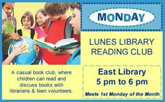 Let's get together to read and discuss books with the librarians and teen volunteers