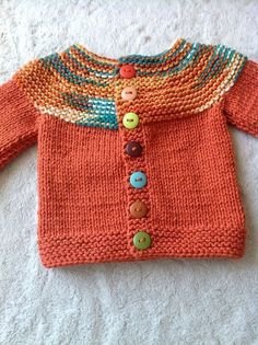 Free Knitting Pattern for Cozy Long Cardigan - This long sleeved coat length sweater is a quick knit in jumbo yarn. Sizes Small to Designed by Christine Marie Chen for Red Heart. Great for multi colored yarn. Baby Sweater Patterns, Baby Cardigan Knitting Pattern, Knitted Baby Cardigan, Knit Baby Sweaters, Baby Patterns, Knit Patterns, Fall Cardigan, Toddler Cardigan, Knitted Baby Clothes